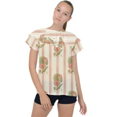 Lotus Flower Waterlily Wallpaper Ruffle Collar Chiffon Blouse by Mariart