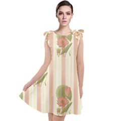 Lotus Flower Waterlily Wallpaper Tie Up Tunic Dress by Mariart