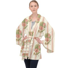 Lotus Flower Waterlily Wallpaper Velvet Kimono Robe