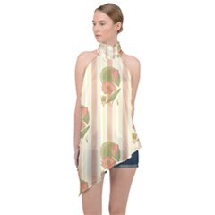 Lotus Flower Waterlily Wallpaper Halter Asymmetric Satin Top by Mariart