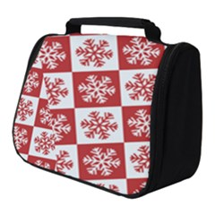 Snowflake Red White Full Print Travel Pouch (small)