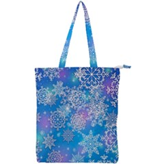 Snowflake Background Blue Purple Double Zip Up Tote Bag