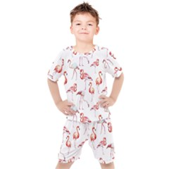 Pink Flamingos Kids  Tee And Shorts Set by goljakoff