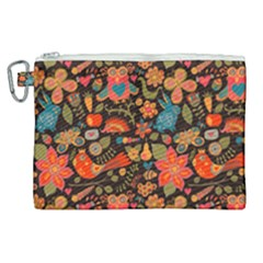 Red Khokhloma Pattern Canvas Cosmetic Bag (xl)