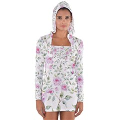 Pink Flowers Long Sleeve Hooded T Shirt