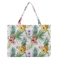 Tropical Pineapples Pattern Zipper Medium Tote Bag by goljakoff