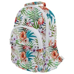 Tropical Flamingos Rounded Multi Pocket Backpack