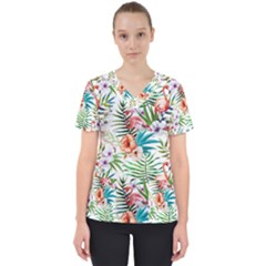 Tropical Flamingos Women s V Neck Scrub Top by goljakoff