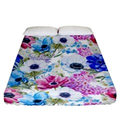 Blue And Purple Flowers Fitted Sheet (queen Size) by goljakoff