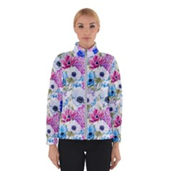 Blue And Purple Flowers Winter Jacket by goljakoff