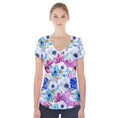 Blue And Purple Flowers Short Sleeve Front Detail Top by goljakoff