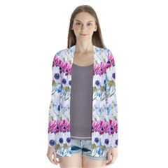 Blue And Purple Flowers Drape Collar Cardigan by goljakoff