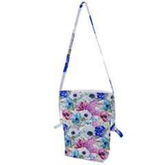 Blue And Purple Flowers Folding Shoulder Bag by goljakoff