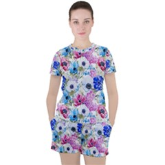 Blue And Purple Flowers Women s Tee And Shorts Set by goljakoff