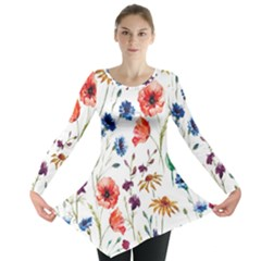 Rainbow Flowers Long Sleeve Tunic  by goljakoff