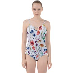 Rainbow Flowers Cut Out Top Tankini Set