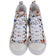 Colorful Flowers Women s Mid Top Canvas Sneakers