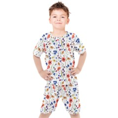 Colorful Flowers Kids  Tee And Shorts Set by goljakoff