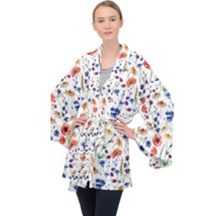 Colorful Flowers Velvet Kimono Robe by goljakoff