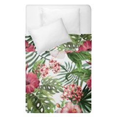 Red Monstera Flowers Duvet Cover Double Side (single Size)