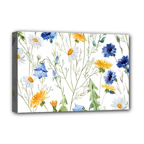 Blue And Yellow Flowers Deluxe Canvas 18  X 12  (stretched) by goljakoff