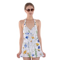 Blue And Yellow Flowers Halter Dress Swimsuit  by goljakoff