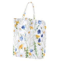 Blue And Yellow Flowers Giant Grocery Tote