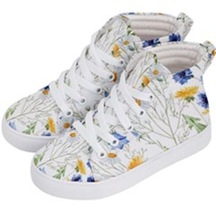 Blue And Yellow Flowers Kids  Hi Top Skate Sneakers by goljakoff