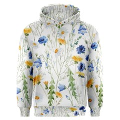 Blue And Yellow Flowers Men s Overhead Hoodie