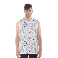 Blue And Yellow Flowers Men s Basketball Tank Top