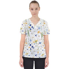Blue And Yellow Flowers Women s V Neck Scrub Top by goljakoff