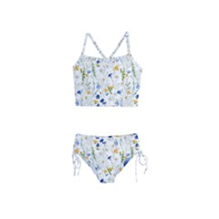 Blue And Yellow Flowers Girls  Tankini Swimsuit