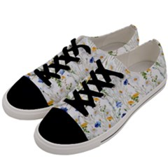 Blue And Yellow Flowers Men s Low Top Canvas Sneakers by goljakoff