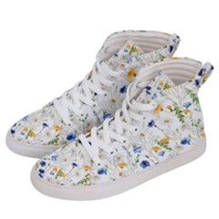 Blue And Yellow Flowers Women s Hi Top Skate Sneakers by goljakoff
