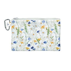 Blue And Yellow Flowers Canvas Cosmetic Bag (medium)