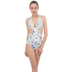 Blue And Yellow Flowers Halter Front Plunge Swimsuit by goljakoff