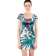 Monstera Flowers Short Sleeve Bodycon Dress by goljakoff