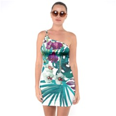 Monstera Flowers One Soulder Bodycon Dress