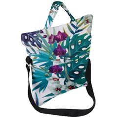 Monstera Flowers Fold Over Handle Tote Bag by goljakoff