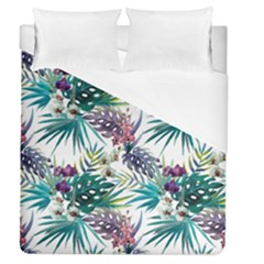 Monstera Flowers And Leaves Duvet Cover (queen Size)