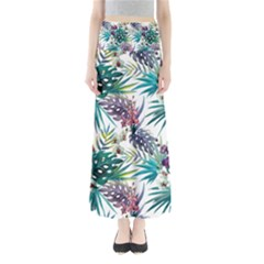 Monstera Flowers And Leaves Full Length Maxi Skirt by goljakoff