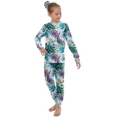 Monstera Flowers And Leaves Kids  Long Sleeve Set  by goljakoff