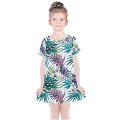 Monstera Flowers And Leaves Kids  Simple Cotton Dress by goljakoff