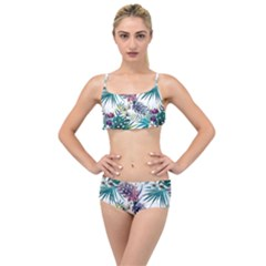 Monstera Flowers And Leaves Layered Top Bikini Set