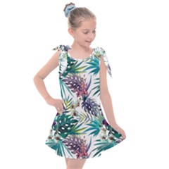 Monstera Flowers And Leaves Kids  Tie Up Tunic Dress by goljakoff