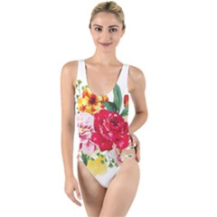 Watercolor Flowers High Leg Strappy Swimsuit