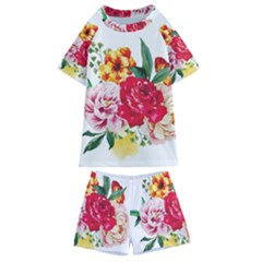 Watercolor Flowers Kids  Swim Tee And Shorts Set by goljakoff