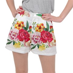 Watercolor Flowers Stretch Ripstop Shorts