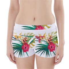 Watercolor Flowers Paint Boyleg Bikini Wrap Bottoms