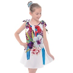 Parrots Painting Kids  Tie Up Tunic Dress by goljakoff